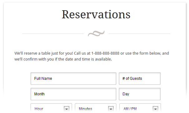 Eatery responsive restaurant wordpress theme the best for Restaurant reservation sheet template